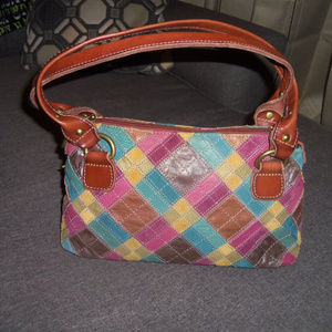 Fossil Leather Patchwork Vintage 1954 Handbag
